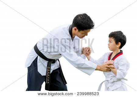 Teacher Black Belt Taekwondo Fighter Kid Punch Guard Stand For Flight Isolated On White Background W