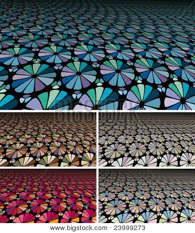 Collection of Abstract perspective backgrounds with pastel stained glass effect. Horizontal 16x9 aspect ratio