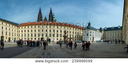 Prague, Czech Republic - April 4, 2018 : People Visiting Prague Castle, With Kohl S Fountain And The