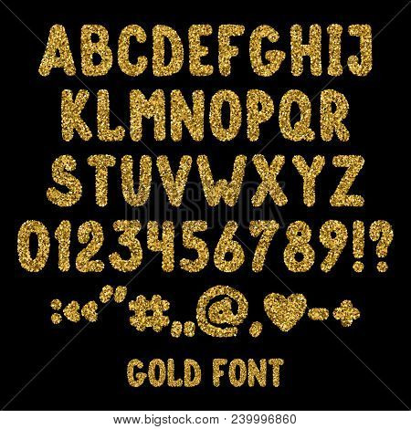 Gold Glitter English Alphabet, Punctuation Marks And Numbers. Shiny Font Isolated On Black Backgroun