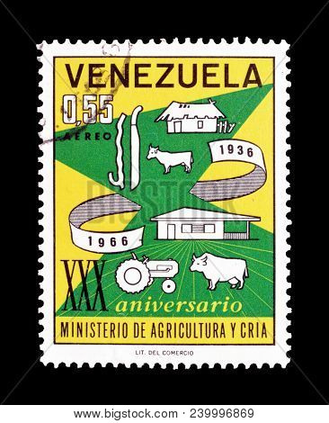 Venezuela - Circa 1966 : Cancelled Postage Stamp Printed By Venezuela, That Shows Farm Of 1936 And 1