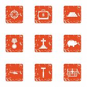 Cult icons set. Grunge set of 9 cult vector icons for web isolated on white background poster