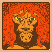 The man with the face of a lion, dreadlocks, Rastafarian, reggae style, color illustration poster