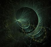 String theory. Physical processes and quantum theory. Quantum entanglement. An abstract computer generated modern fractal. Abstract fractal element in rotational motion pattern for your design. poster