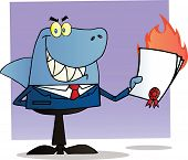 Shark Businessman Holding A Flaming Bad Contract In His Hand poster