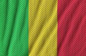Mali flag printed on a polyester nylon sportswear mesh fabric with some folds poster