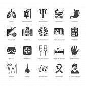 Hospital, medical flat glyph icons. Human organs, stomach, brain, flu, oncology, plastic surgery, psychology breast cancer Health care clinic signs. Solid silhouette pixel perfect 64x64. poster