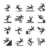 Stick figure man falling beware, hazard warning symbols. Person injury at work vector signs isolated. Illustration of figure man, accident and risk poster