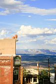 View from a street in town of Jerome Arizona poster