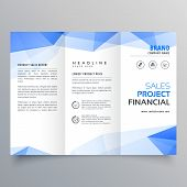 blue triangle shape trifold brochure design template poster