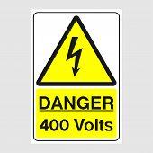 "Plate: ""Danger. 400 Volts"". Sign: ""Danger. 400 Volts"" on a gray background poster"