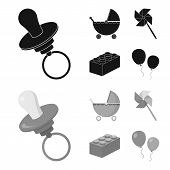 Stroller, windmill, lego, balloons.Toys set collection icons in black, monochrom style vector symbol stock illustration . poster