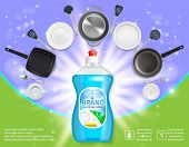 Dishwashing liquid products advertising poster. Vector realistic illustration of dish detergent brand bottle design template and clean plates, cups, cutlery and cooking utensils. poster