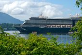 Cruise ship in port in Sitka Alaska poster