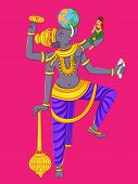 Vector design of statue of Indian Lord Varaha sculpture one of avatar from the Dashavatara of Vishnu engraved on stone poster