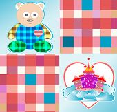 magical fairytale castle pink and cute bear vector poster
