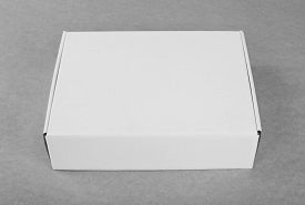Closed White Cardboard Box For Packaging On A White Background