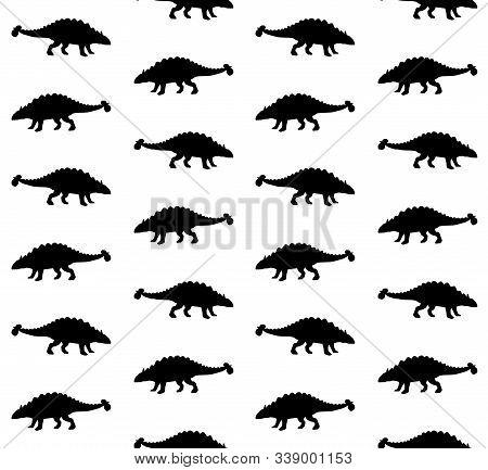 Vector Seamless Pattern Of Black Ankylosaurus Dinosaur Silhouette Isolated On White Background