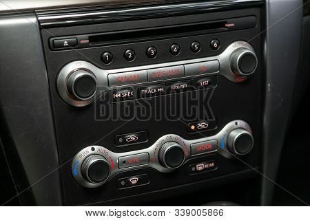 Novosibirsk, Russia - October 23, 2019:  Nissan Teana, Vehicle Interior With Visible Climate Control
