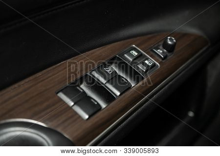 Novosibirsk, Russia - October 23, 2019:  Nissan Teana, Close Up Of A Door Control Panel In A New Mod