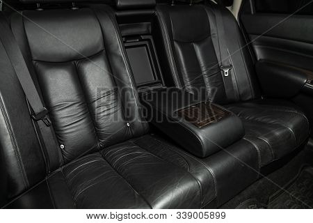 Novosibirsk, Russia - October 23, 2019:  Nissan Teana, Close-up Of The Black  Rear Seats With Seats