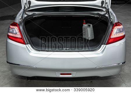 Novosibirsk, Russia - October 23, 2019:  Nissan Teana, Close-up Of The Open Trunk, Headlight, Bumper
