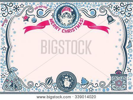 Christmas Certificate With Santa And Snowman. Ho-ho-ho Merry Christmas