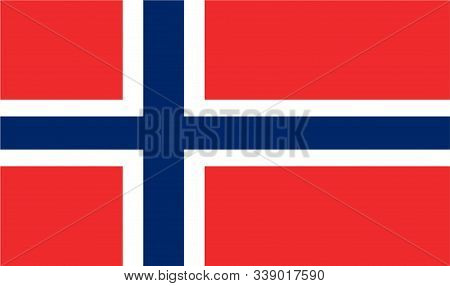 Norway Flag. Official Flag Of Norway. Vector Illustration.