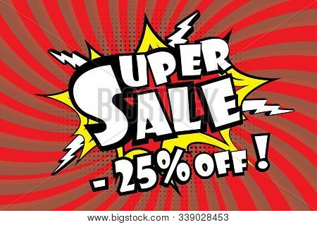 Super Sale Pricetag In Comic Pop Art Style