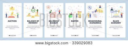 Mobile App Onboarding Screens. Behavioural Economy, Black Market, Financial Chart, Business Auction.
