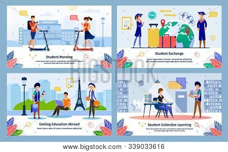 Student Morning, Education Abroad Exchange Program, Collective Learning Trendy Flat Vector Banners,