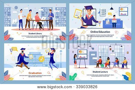 Modern College, University Students Activities And Routine Trendy Flat Vector Banners, Posters Set.