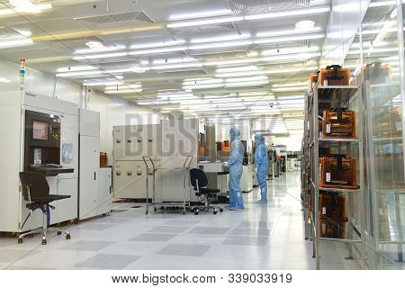 Moscow, Russia - Dec. 5.2019. Sterile Chip Box In Mikron - The Largest Plant For Production Of Chips
