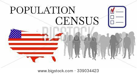 Population Census. White Vector Banner Of Opinion Poll Or Social Survey. Conceptual Symbol Of Of Onl