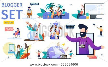 Female And Male Video Bloggers Trendy Flat Vector Characters Set. Young Men, Women And Children Maki