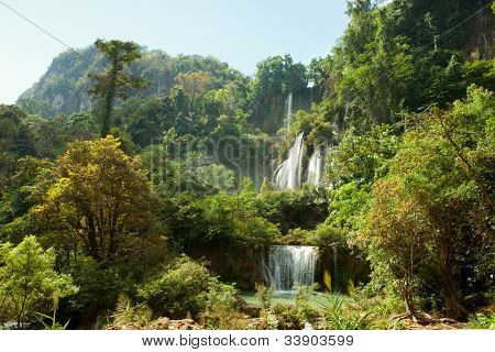 The Umphang Thi Lo Su  Waterfall  is  the largest and highest waterfall in Thailand. Umphang Wildlife Sanctuary in Tak Province in northwestern Thailand. January, the dry season