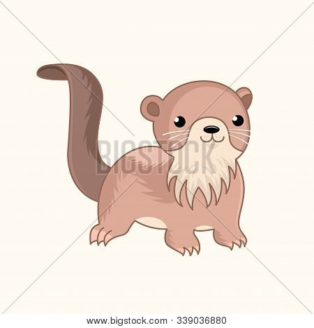 Little Funny Cute Cartoon Otter. Semiaquatic Chibi Animal. Design For Print, Emblem, T-shirt, Party