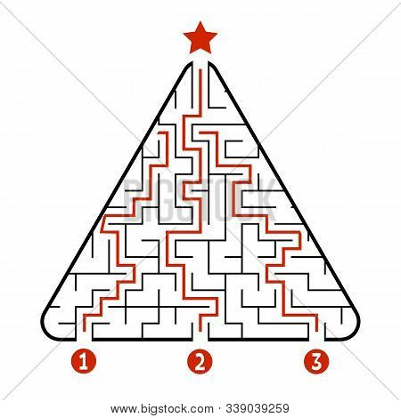 Abstract Triangle Labyrinth. Game For Kids. Puzzle For Children. Find The Right Path To The Star. La