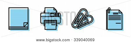 Set Line Paper Clip, File Document, Printer And File Document And Paper Clip Icon. Vector