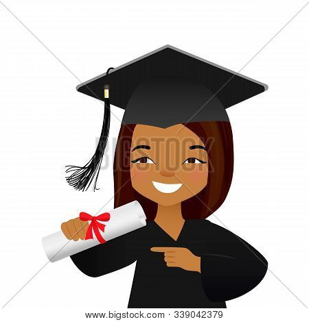 Vector Illustration Of Graduating Young Student. Cute Girl In Graduate Gown And Mortarboard, Squeare