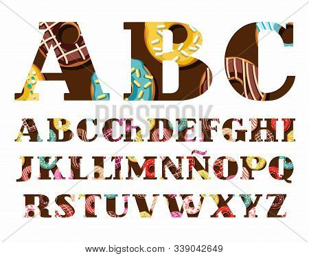 Spanish Font, Donuts With Icing, Vector. Capital Letters Of The Spanish Alphabet. Donuts In Colored