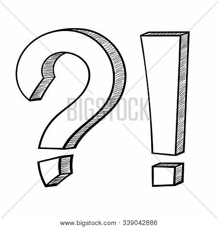 Punctuation Symbols. Question Mark And Exclamation Mark. Hand Drawn Sketch. Vector Illustration Isol