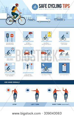 Safe Cycling Tips For Riding Safely In The City Street An Traffic And Hand Signals, Vector Infograph