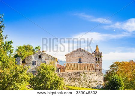Town Of Hum, Beautiful Old Stone Traditional Architecture In Istria, Croatia, Coutryside Landscape