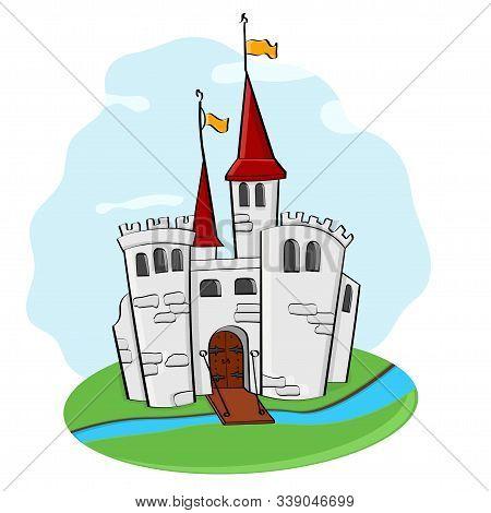 Medieval Castle. Cartoon Colored Doodle. Vector Illustration