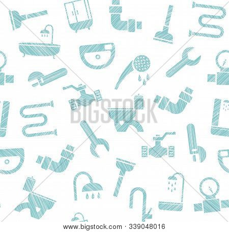 Plumbing And Water Pipeline, Seamless Pattern, Shading Pencil, White, Vector. Plumbing Tools And Spa