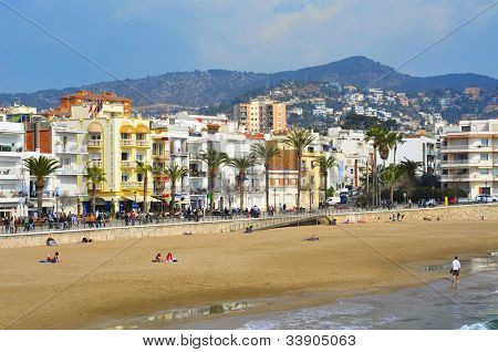SITGES, SPAIN - MARCH 3: View of Ribera Beach on March 3, 2012 in Sitges, Spain. This urban beach, is 205 meters long and 20 meters wide