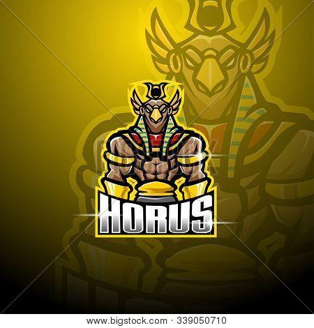 Horus Esport Mascot Logo Design With Text
