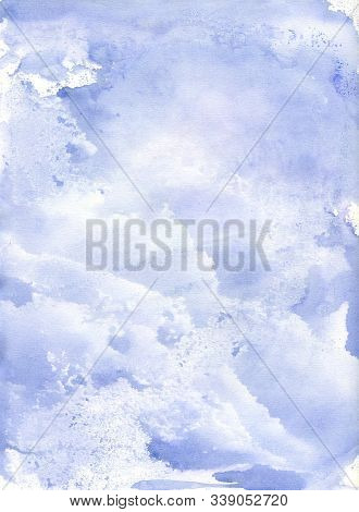 Watercolor Abstract Background. Hand Painted Sky And Clouds In Pastel Blue Color. Bright Ultramarine