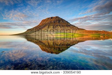 Mountain And The Beautiful Sky Reflects In The Lake